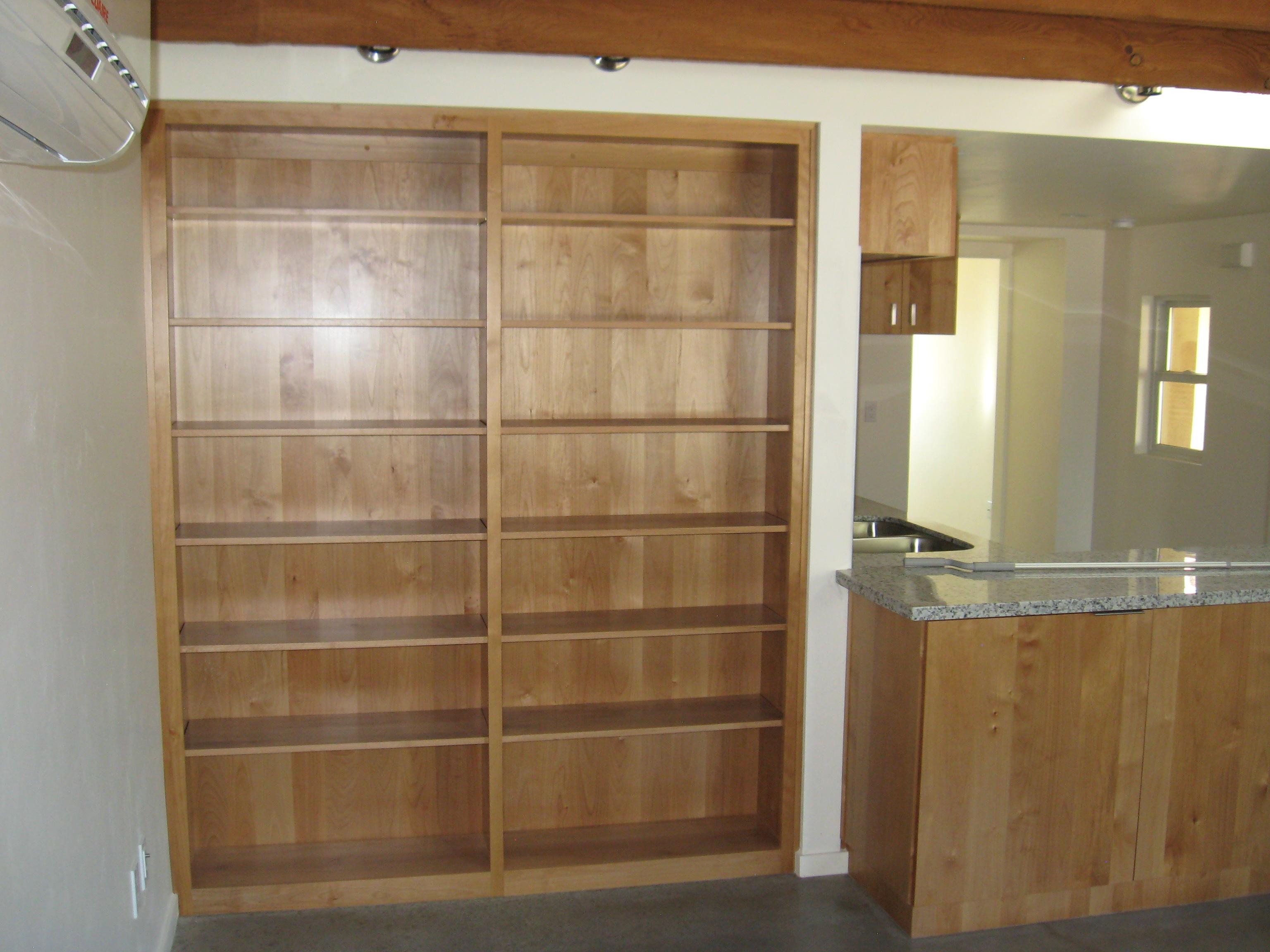 wood built in shelves